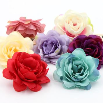 2pcs Silk Flower Dahlia Rose Artificial Flower Head Wedding Decoration
