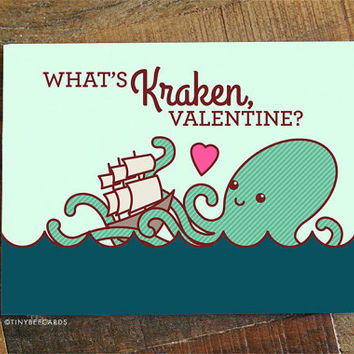 "Funny Valentine Card ""What's Kraken?"" - Funny kraken card, boyfriend girlfriend card, pirates card, geeky nerdy pun, valentine's day card"