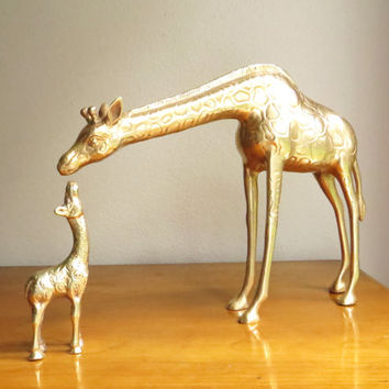 Vintage Brass Giraffes Figurine, Mother and Baby Giraffe Figurines, Brass African Animal Statues, Pair