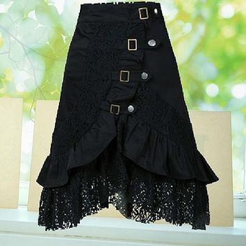 Women's Steampunk Gothic Style Black Lace Splicing Metal Button Buckle Skirt smt 87