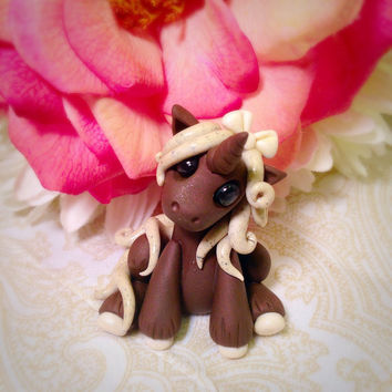 Adorable Unicorn custom polymer clay Miniature Cookies n Cream Dessert pony horse figurine by Tempies Menagerie