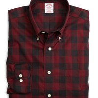 Men's Non-Iron Regular Fit Red Plaid Sport Shirt
