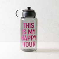 This Is My Happy Hour Grey Sports Water Bottle