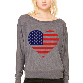 American Heart WOMEN'S FLOWY LONG SLEEVE OFF SHOULDER TEE