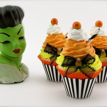 "Fake Cupcake ""Candy Corn Collection"" 12 Legs Original Design Can Be Business Card Holder"