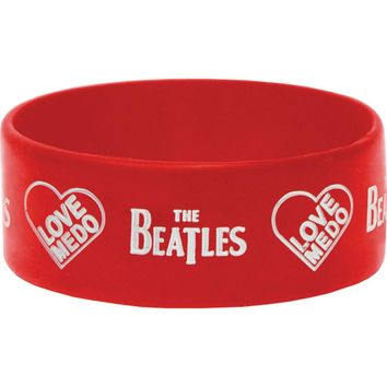 Beatles Men's Love Me Do Rubber Bracelet Red