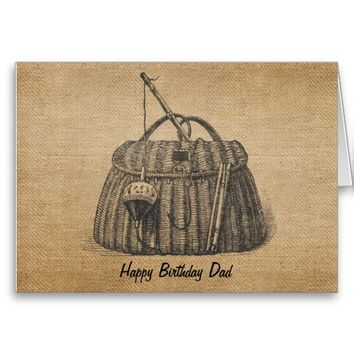 Burlap Vintage Fishing Tackle box Greeting Cards from Zazzle.com