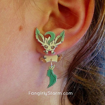 Leafleon Pokemon Clinging earrings Handmade kawaii Eeveelutions  gamer two part front and back post earrings