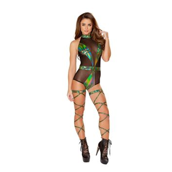 Roma Rave 3423 - Two-Tone Romper with Detailed Patches