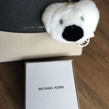 NEW IN BOX MICHAEL KORS Teddy Bear Pom Keychain Charm Optic White $98