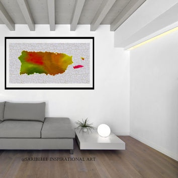 Canvas Art Print, 24 x 10 inches, Colorful Map Art, Puerto Rico, Puerto Rico Map