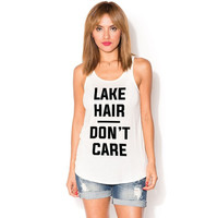 Lake Hair-Don't Care Tank Top, Ivory (Size S)