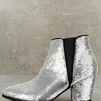 Melody Silver Sequin Ankle Booties