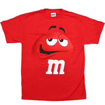M&M's Candy Character Face T-Shirt - Adult - Red - Large