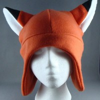 Fox Animal Fleece Hat Skiing Snowboarding by ForwardMotionArt
