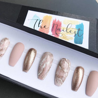 Pink Marble Nude Rose Gold Press On Nails | Any Shape | Fake Nails | False Nails | Glue On Nails