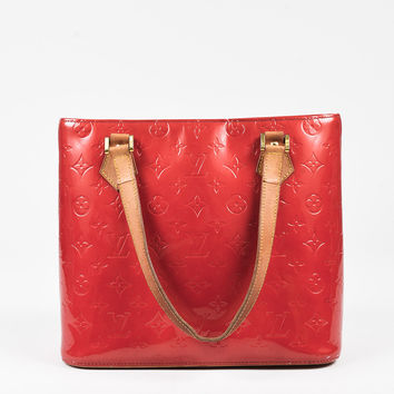 "Louis Vuitton Red Vernis Leather Tan Handle ""Houston"" Tote Bag,most popular women red bags"