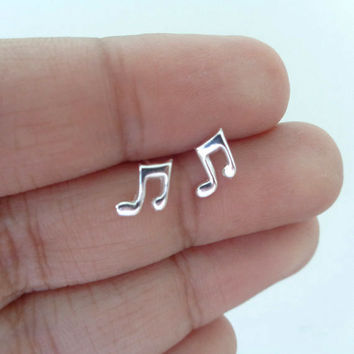 925 Silver Music Note Studs Earrings. Children Jewelry. Minimalist Jewelry. Tiny Earring. Hypoallergenic Studs.