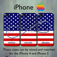Best Friends Forever Infinity iPhone case - Personalized USA Flag iPhone 4 or iPhone 5 Case, Three Case Set