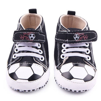 HOT Toddler Infantil Boys Girls Football Pattern Crib Shoes Sneaker Kid Lace-Up Soft Sole Baby Shoes Prewalker NW