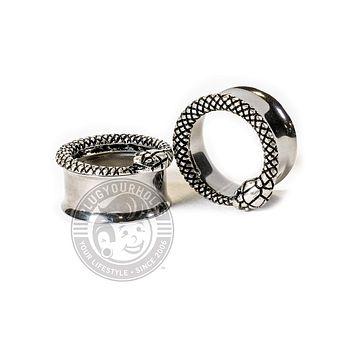 Ouroboros Serpent Double Flared Steel Tunnels