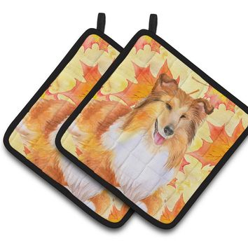Sheltie Fall Pair of Pot Holders BB9981PTHD
