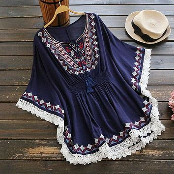 Women's summer retro vintage short dress boho holiday style embroidery dress cloak sleeve fashion loose dress cotton lace dress