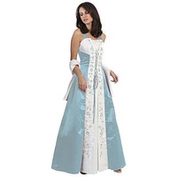 CLEARANCE - Light Blue Prom Dress Cross Tie Medieval Dress