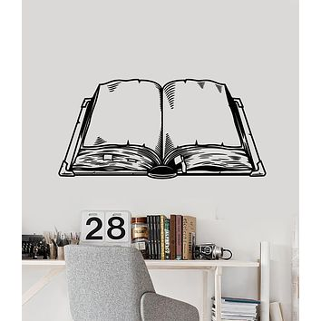 Vinyl Wall Decal Open Book Literature Reading Room Library Stickers Mural (g2589)