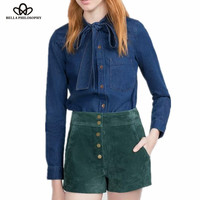 2016 autumn winter blue denim bow tie collar long sleeve women blouse shirt