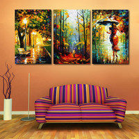 Modern Home Decor Canvas Art Abstract Oil Painting On Canvas 3 Piece Street Light Tree Figure Walk Wall Pictures For Living Room
