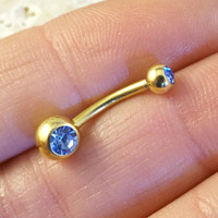 Simple Gold Light Blue Belly Button Ring Jewelry