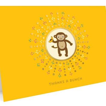Monkey Foil Stamped Thank You Cards
