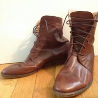 vintage Oxblood Leather Ankle Riding Boot