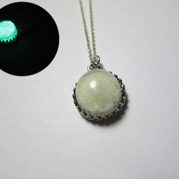 Glass Necklace Pendant Bead - Glow in the Dark Moon