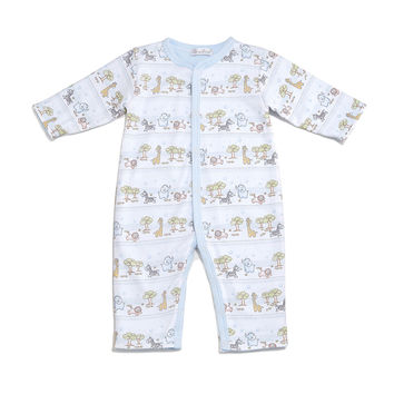Jungle Menagerie Reversible Pima Coverall, Light Blue, Size 3-12 Months, Size: