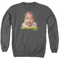 THE OFFICE/DID I STUTTER - ADULT CREWNECK SWEATSHIRT - CHARCOAL -