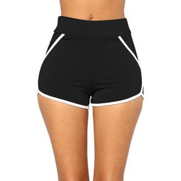 Women's High Waist Elastic Striped Shorts