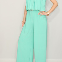 Women jumpsuit Mint green jumsuit Wide leg jumpsuit Halter jumpsuit