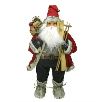 "24"" Sporty Skiing Standing Santa Claus Christmas Figure with Burlap Gift Bag"