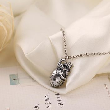 Steampunk Style Antique Anatomical Heart Necklace