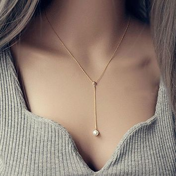 925 Sterling Silver Sexy & Elegant Y Pearl Drop Lariat Necklace White&gold Pendant Fashion Midi Dress Accessories PEARL JEWELRY