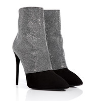 Giuseppe Zanotti - Suede Ankle Boots with Chainmetal Crystals