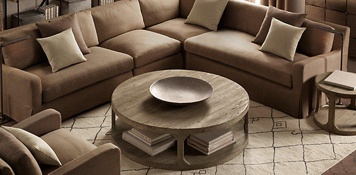 Martens round table collection from restoration hardware Restoration coffee tables