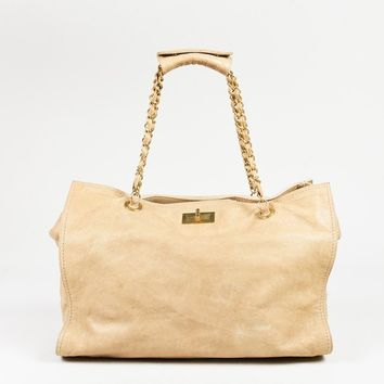 "Chanel Beige Caviar Leather ""Edy Reissue"" Tote Bag"