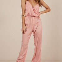 Pompeii jumpsuit in blush Produced By SHOWPO