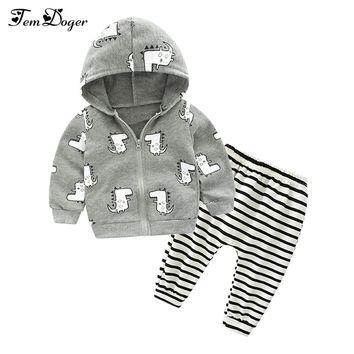 Tem Doge Autumn Winter Baby Boy Clothing Set Newborn Girls Underwear Suit Infant Knitted Zipper Coat+Pants 2PCS Outfits Clothes