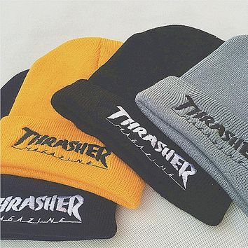 Thrasher Embroidery Hiphop Woman Men Beanies Winter Knit Hat Cap
