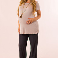 Linen Maternity Pants in Black