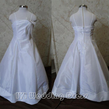 Real Photos Spaghetti Straps White Kids Flower Girl Dress Simply Elegant A-line Full Length Dress